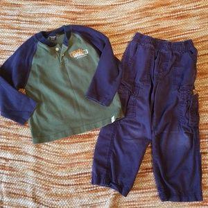 Boys 4t oshkosh bundle pants shirt outfit